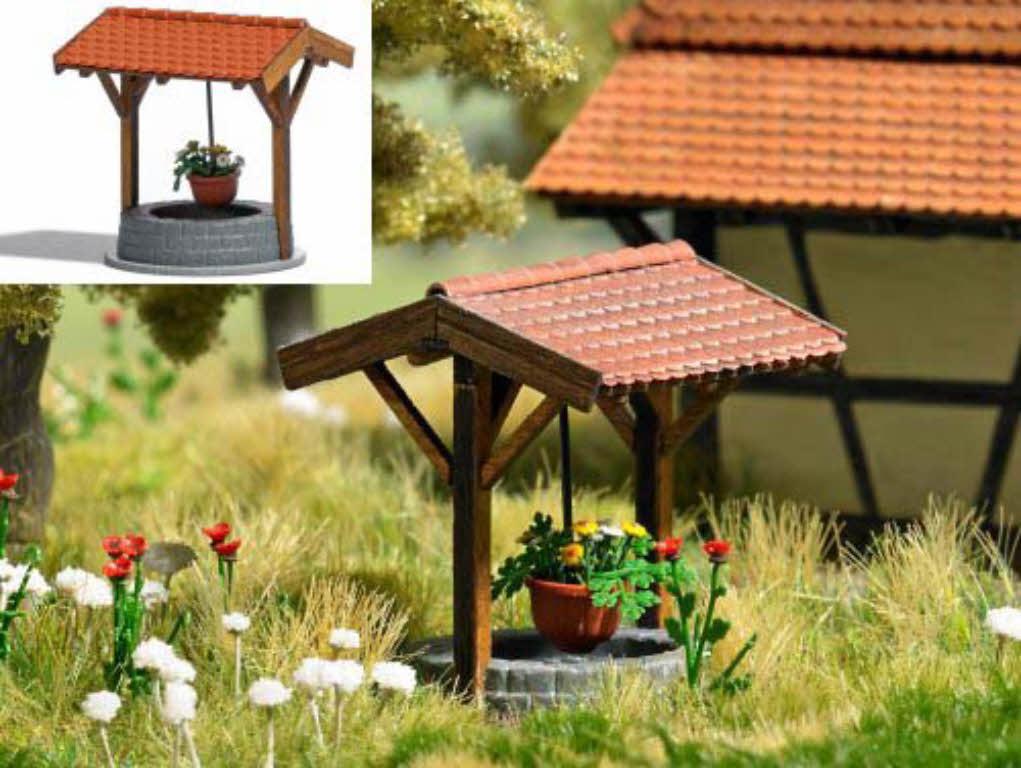 Brunnen Bausatz.Busch 1524 Brunnen Mit Blumenampel Echt Holz Bausatz H0 1 87