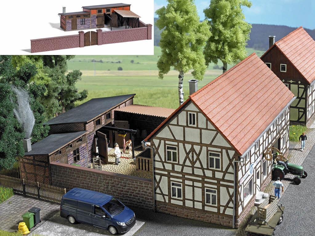 Busch 1531 Hinterhofgebaude Schlachterei Echt Holz H0 Bausatz