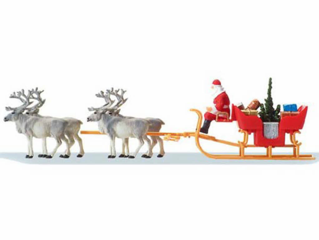 Preiser 30399 Weihnachtsschlitten mit 4 Rentieren H0 Weihnachten ...